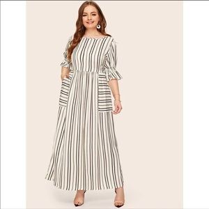NWOT SHEIN Flounce Sleeve Pocket Striped Dress